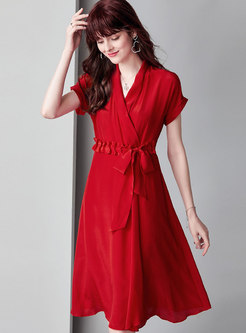 Chic Pure Color Tied High Waist A Line Dress
