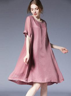 Brief Pure Color Plus Size Loose Shift Dress