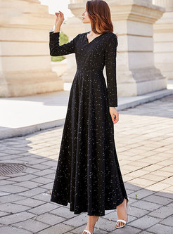 V-neck Print Gathered Waist Long Sleeve Maxi Dress