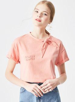 Brief Pure Color O-neck Tied Orange T-shirt