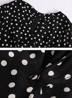 Stylish Polka Dot Batwing Sleeve High Waist Rompers