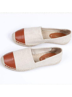 Casual Linen Slit Flat Heel Comfortable Loafers