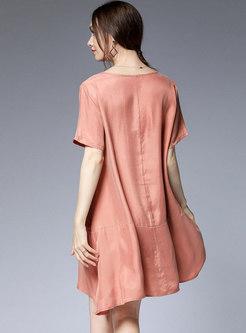 Brief O-neck Pure Color Loose Plus Size Shift Dress