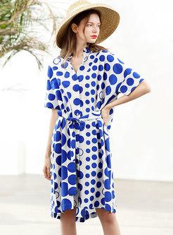 Stylish Dots Pattern Loose Slim T-shirt Dress