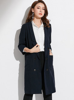 Solid Color Lapel Double-breasted Trench Coat