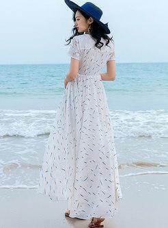 Chiffon Floral V-neck Beach Vacation Maxi Dress