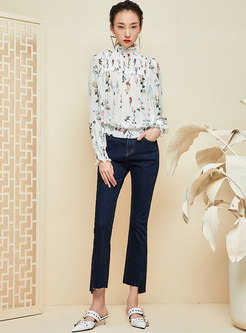 All-matched Denim Splicing Irregular Flare Pants