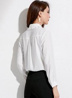 Chic Turn-down Collar White Casual Chiffon Blouse