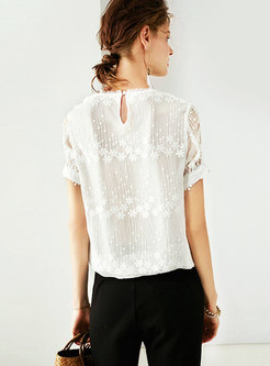 Solid Color Embroidered Silk Short Sleeve T-shirt