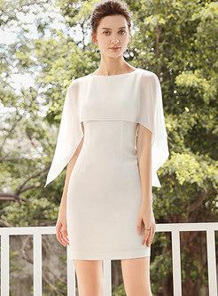Elegant Gathered Waist Cloak Gauze Bodycon Dress