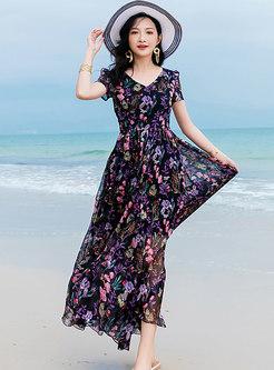 Print Gathered Waist Big Hem Beach Maxi Dress