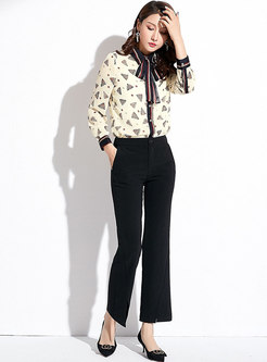 Stylish Print Tied Bowknot Casual Blouse