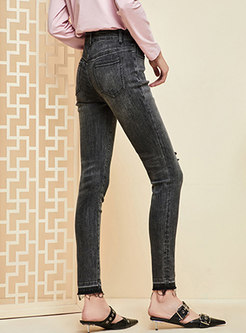 Brief Shredded Scrub Washed Elastic Skinny Jeans