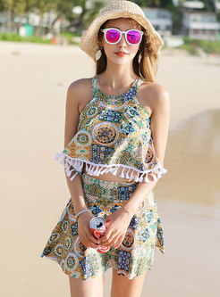 Floral Print Backless Tassel Tankini Swimwear