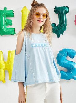 Brief Letter Print Summer Off Shoulder T-shirt