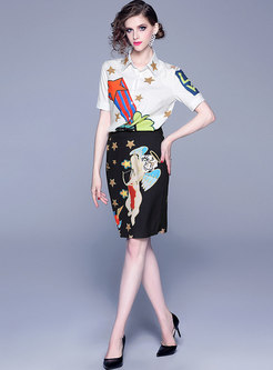 Lapel Star Pattern Blouse & Cartoon Print Sheath Skirt