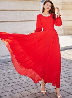 Summer Holiday Gathered Waist Chiffon Maxi Dress