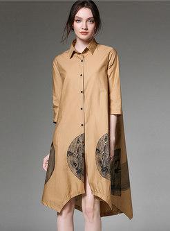 Asymmetric Lapel Print Khaki Loose T-shirt Dress
