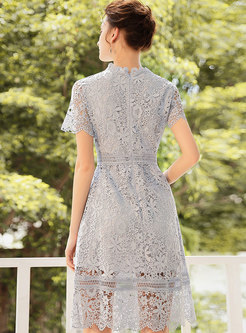 Lace Hollow Out Gathered Waist Slim Skater Dress