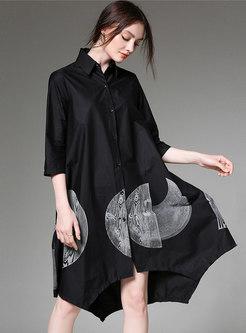 Plus Size Lapel Print Black Loose T-shirt Dress