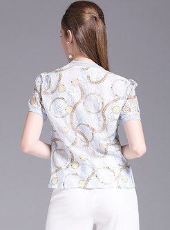 V-neck Lace Print Hollow Out Slim T-shirt