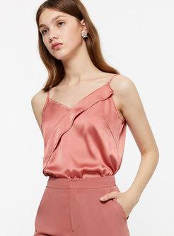 Brief V-neck Backless Sleeveless Cami