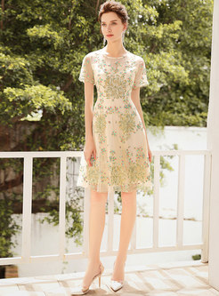 Chic Perspective Lace Embroidered Green Skater Dress