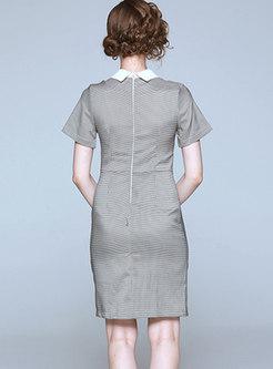 Elegant Diamond Beaded Houndstooth Split Bodycon Dress