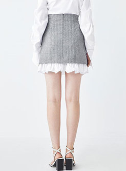 Casual Grey Striped Splicing Falbala Slim A Line Skirt