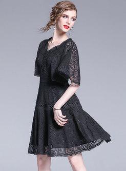 Vintage Lace Backless High Waist Skater Dress