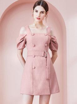 Brief Solid Color Off Shoulder Belted A Line Dress