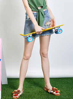 Casual Embroidered Cotton Washed Denim Shorts