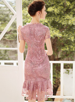 Elegant Embroidered Lace Mermaid Bodycon Dress