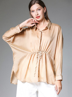 Khaki Lapel Tied Waist Split Plus Size Thin Blouse