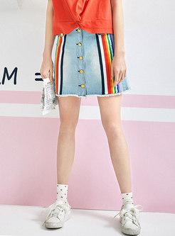 Summer Rainbow Striped High Waist Denim Skirt