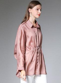 Pink Lapel Tied Waist Split Plus Size Thin Blouse