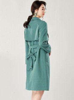 Casual Pure Color Double-breasted Tied Trench Coat