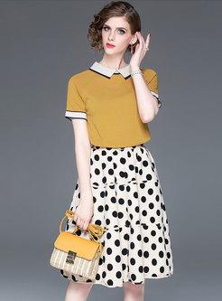 Color-blocked Lapel Knitted Top & Polka Dot Skirt
