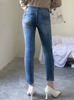 Brief Light Color Stretch Slim Hole Jeans