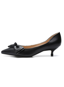 Brief Pointed Bowknot Leather Thin Heel Shoes