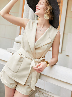 Summer Pure Color Lapel Tied Two Piece Outfits