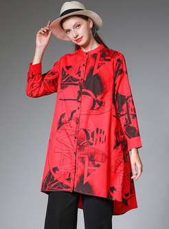 Asymmetric Print Plus Size Cotton Long Sleeve Blouse