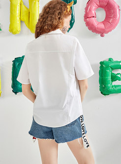All-matched Letter Splicing High Waist Slim Denim Shorts