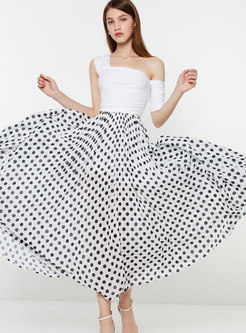 Chic High Waist Polka Dot Summer Long Skirt