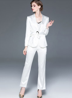 Pure Color Notched Straight Pant Suits