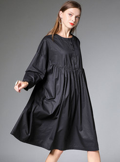 Black Plus Size Pleated Loose Cotton T-shirt Dress