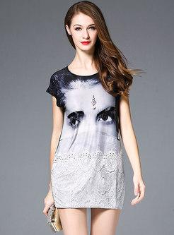 Brief Beaded Print Lace Splicing T-shirt Dress