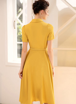 Stylish Lapel Yellow Gathered Waist Skater Dress