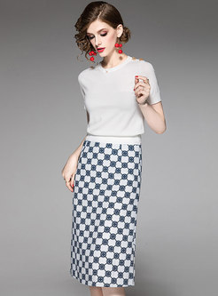 Work Solid Color Slim Knitted Top & Print Skirt