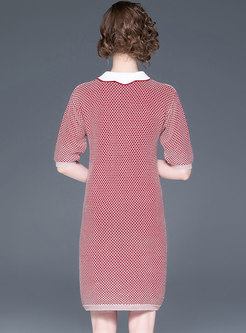 Brief Beaded Turn-down Collar Knitted Dress